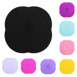 Wholesale Cup Pads - Silicone Suction Cup Cosmetic Brushs Clean Mat Multi Color Foundation Makeup Brush Cleaner Pad Washing Tools 2 5sh C R