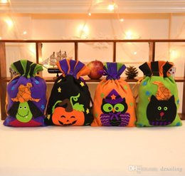 Wholesale Halloween Pumkin - Non-woven gift bag halloween design 4 styles drawstring pumkin witch party cosplay costume prop home market party night club decor