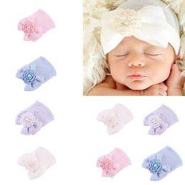 New Autumn Winter Infant Baby Cotton Knitted Hat Crochet Flower Bowknot Stripe  Caps Newborn Babies Hats Newborn 7b1739f8f370