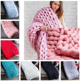 Wholesale Used Sofas - Thick Line Knitted Blanket Blending Anti-Pilling Super Soft Used in Bed Sofa Plane Cobertor Blanket c377