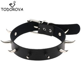 Wholesale Spike Punk Collar - whole saleTodorova Chic Punk Rock Gothic Unisex Women Men Leather Silver Spike Rivet Stud Collar Choker Necklace Statement Jewelry