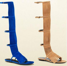 Wholesale Strapped Knee High Heels - 2018 New design suede fringed knee high gladiator sandal boots for woman cut-outs ankle buckle sandals free ship