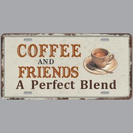 Coffee and Friend is a Blend Super Hot 3D Emboss Retro License Plates Vintage Tin Sign Art Wall Plaque decor Home Metal Painting Bar Pub