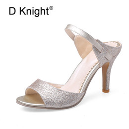 Wholesale Men Sexy Cloths - Sexy Open Toe Thin Heels Women Slippers Fashion Sequined Cloth Mary Jane High Heels Women Slides Ladies Casual High Heel Sandals