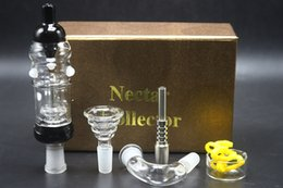Wholesale Bowl Prices - Factory Price Golden Gift Box Nectar Collector Plus Full Kit 14mm With Titanium Glass Nail Bowl Adaptor Honey Dab Straw Glass Water Bongs