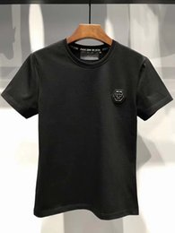Wholesale European T Shirts Men - Free transport of high-quality cotton t-shirts Summer, 2018, European and American short-sleeved T-shirt fashion and casual printed semT1083