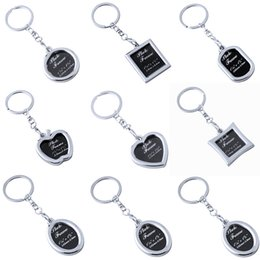 Wholesale Photo Inserts - Creative Mini Heart Square Round Oval Insert Photo Frame Rotary Keychain Keyring Lover Gift Family Gift Free Shipping G236S