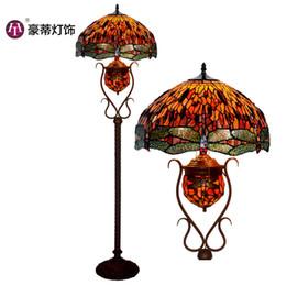 iluminação de pé livre lâmpadas Desconto Venda Direta Da fábrica 18 Polegada Tiffany Lâmpada de Assoalho, Estilo Europeu Retro Sala de estar, Quarto Lâmpada Vertical, Lâmpada Manual N1497