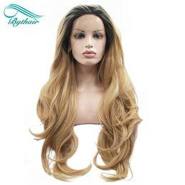 Bythair Bouncy Wavy Ombre Blonde Deux Tons Synthétique Lace Front Perruque Racine Sombre / Naturel Blonde Résistant À La Chaleur Fiber Femmes Perruques de Cheveux ? partir de fabricateur