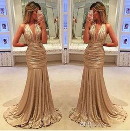 Wholesale Pink Draping Fabric - 2018 sexy elegant long evening gowns satin fabric black girl western country style for woman dress gold prom formal dresses mermaid