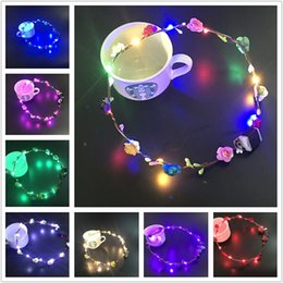 Wholesale Luminous Rave - Flashing LED strings Glow Flower Crown Headbands Light Party Rave Floral Hair Garland Luminous Wreath Wedding Flower Girl Headpiece