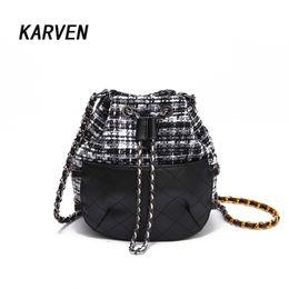 Wholesale Korean Cross Body Bags - Girls Cute Korean Bags Bucket Leather Shoulder Sling Bags for Women Drawstring Handbags Ladies Small Crossbody Bucket
