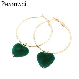 Wholesale Hoop Earrings For Girls - Wholesale- 2017 New Design Girls Heart Hoop Earrings With Gold Color Cotton Ball Earrings Brincos For Women