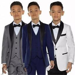 Smoking para niños Trajes de cena para niños Traje formal de tres piezas Chicos, traje de esmoquin de solapa, esmoquin para niños desde fabricantes
