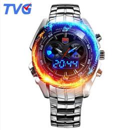 Wholesale Tvg Steel Watch - 2017 TVG Male Sports Watch Men Full stainless steel waterproof Quartz-watch Digital Led Analog display Men's Wrist Watches