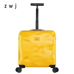 2019 18-дюймовый багаж 18 дюймов аварии камера PC путешествия чемодан женщины Spinner колеса ручной клади мужчины прокатки багажа скидка 18-дюймовый багаж