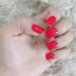 Dedo da senhora vermelha on-line-Sexy Red Unhas Postiças Cobertura Completa Acrílico Unhas Postiças Senhora Prego para Dedo DIY Manicure Ferramentas 24 Pcs
