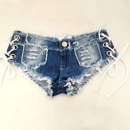 Wholesale jeans strap shorts - Sexy Ripped Hole Fringe Blue Denim Shorts Women Casual Jeans Shorts Low Wrist Booms 2017 Summer Straps Beach Swiming