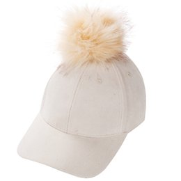 18a9f0f6d04 Women Faux Fox Fur Pompom Baseball Caps Ball Suede Adjustable Cap Hip-Hop  Hat 2017 fashion new style Gorros para
