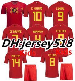 Wholesale Short Black Cup - 2018 World Cup Belgium Soccer Jersey 2018 Home red LUKAKU FELLAINI E.HAZARD KOMPANY DE BRUYNE football shirt Adults and kids S-3XL