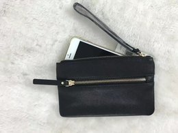 Wholesale real leather clutch bags - brand designer black real leather wristlets wallet clutch bags women coin purse double zippers