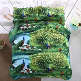 2019 cama de pavão Venda quente 3d pavão verde conjunto de cama 4 pcs adulto crianças roupa de cama capa de edredão set com folha plana fronhas twin queen size king cama de pavão barato
