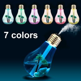 Wholesale aroma bulb - 400ML USB Lamp Bulb Humidifier DC 5V Night Light Air Ultrasonic Humidifier Oil Essential Aroma Diffuser Mist Maker Fogger