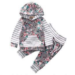 Canada Bébé nouveau-né floral rayé bébé filles vêtements à capuchon tops pantalons maison tenues fleur infantile tops + pantalon 2 pcs / set bébé vêtements costume Offre