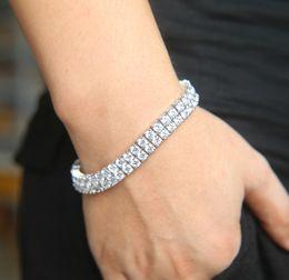 Wholesale bracelet locks - Round Cut mens Tennis Bracelet Zirconia Triple Lock Hiphop Jewelry Cubic Luxury Crystal CZ Men Fashion Charm Bracelets