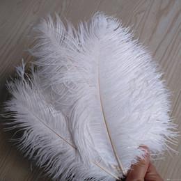 Penas de avestruz de 55 cm on-line-Cariel Pena de avestruz Branco puro 20-22 polegadas (50-55 cm) Decoração de casamento peça central da mesa de festa