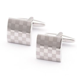 Wholesale Silver Plated Wedding Favors - Laser Cufflinks Fashion Square Men's Gifts Silver Wedding Favors