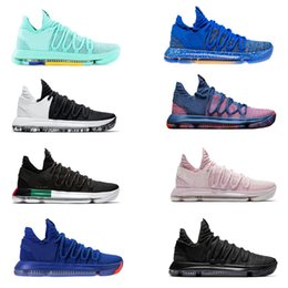 Wholesale kd low tops - 2018 Kevin Durant Basketball Shoes Hyper Turquoise Aunt Pearl City Series Blackout All Star BHM Finals Top quality KD 10 Sport Sneakers