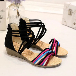 Sandalias de cuña niña plana online-TALLA: 35-40 Pisos Sandalias de mujer Moda Casual Playa Niñas Sandalias de verano Cómodas mujeres Bohemia Zapatos de verano Cuñas