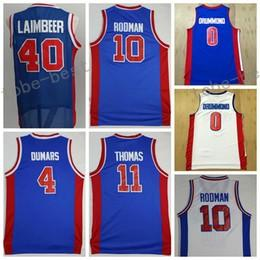 Wholesale Man Uniforms - Men 11 Isiah Thomas Uniforms Throwback 10 Dennis Rodman 40 Bill Laimbeer Jersey Shirt 0 Andre Drummond 4 Joe Dumars 1 Chauncey Billups