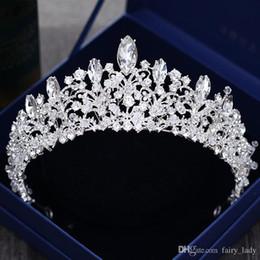 corona india de cristal Rebajas Preciosa princesa grandes coronas de boda nupcial joya tocados tiaras para mujeres plata metal cristal rhinestone diademas para el cabello barroco