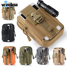 Wholesale card armband - 5.5'Universal Outdoor Tactical Holster Military Molle Hip Waist Belt Bag Wallet Pouch Purse Phone Case with Zipper for iPhone Samsung