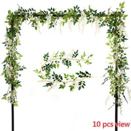 Wholesale leaf garland wholesale - 2 Pcs Artificial Flowers 6.6ft Silk Wisteria Ivy Vine Green Leaf Hanging Vine Garland for Wedding Party Home Garden Wall Decoration, Cream
