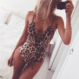 Wholesale Jumpsuits Women Leopard - Lace up leopard bodysuit women Deep v neck sexy bodysuit romper Casual autumn winter bodysuit jumpsuit romper women