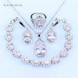 Wholesale White Jade Earrings 925 Silver - whole saleL&B Australia Crystal Water Drop silver 925 Jewelry Sets For Women Bracelet Earrings Necklace Pendant Rings