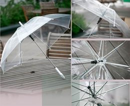 see through umbrellas Promo Codes - Hot Selling Transparent Clear EVC Umbrella Long Handle Rain Sun Umbrella See Through Colorful Umbrella Rainproof Wedding Photo