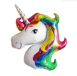Wholesale Purple Pink Baby Shower - Large Unicorn Balloon Birthday Party Decorations kids Foil Balloons Party Supplies Wedding Baby Shower Decor Rainbow 2018 New