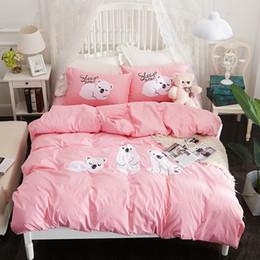 2019 juego de cama de oso Conjunto del lecho estilo PapaMima bebé oso de dibujos animados bordado apliques Twin Queen tamaño de algodón conjuntos de funda de almohada funda nórdica flatsheet juego de cama de oso baratos