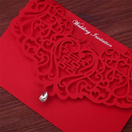 Wholesale House Brides - Vintage Chinese Style Hollow Out Wedding Invitations Creative Brides Couples Cards Red Cover Foil Stamping Chic Bridal Card