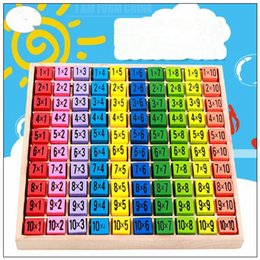 Wholesale Printing Items - Multiplication Table Math Toys 10x10 Double Side Pattern Printed Board Colorful Wooden Figure Block Kids Novelty Items CCA9496 12pcs
