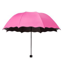 Wholesale Dome Magic - Magic Flowers Dome Parasol Sun Rain Three-Folding Umbrella For Women Lady affordable