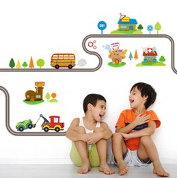 Wholesale Kids Wall Stickers Cartoon Car - Cartoon Cars Highway Track Wall Stickers For Kids Rooms Sticker Children's Play Room Bedroom Decor Wall Art Decals Free Shipping