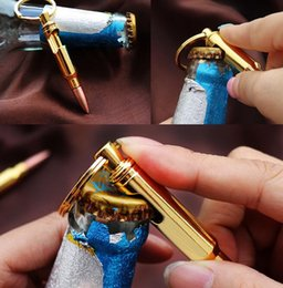 Wholesale bullet shaped - Bullet Shell Shape Bottle Opener Beer Soda Creative Keychain Key Ring Bar Tool Party Business Gift EEA294