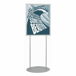 Wholesale Shop Advertising - New Inserted Shopping Mall Promotion Poster Boards Floor Double Poser Stand with Middle PVC Sheet Strong Double Pole Steel Base