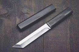 Hoja fija de acero de damasco online-Caída de envío Katana VG10 Acero de Damasco Tanto Cuchilla de ébano Cuchillos de hoja fija con funda de madera Cuchillo de colección