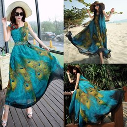 Wholesale Long Peacock Dress - Boho Ladies Chiffon Plus Sleeveless Tunic Peacock Floral Women Maxi Long Dress